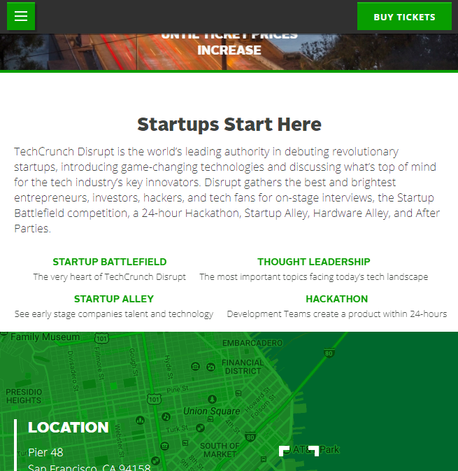 tech crunch promote event event page
