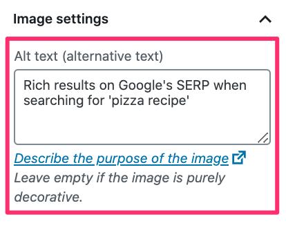 Adding an alt tag in WordPress
