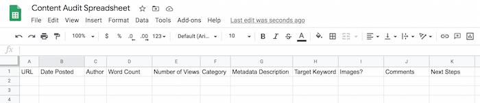 Content audit spreadsheet design using Google Spreadsheets
