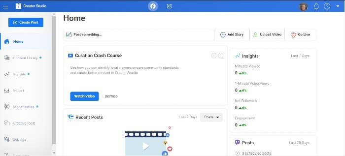 Facebook Watch Creator Studio Dashboard