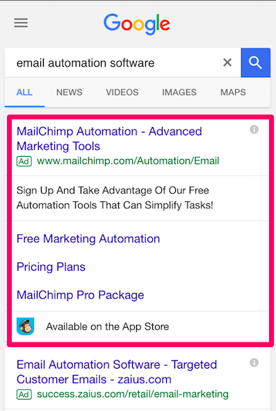 Mobile ad example paid search ads