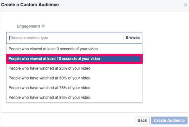 Facebook ads create a custom audience