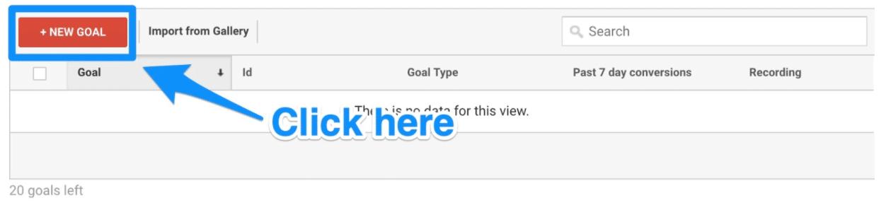 Create new goal on dashboard