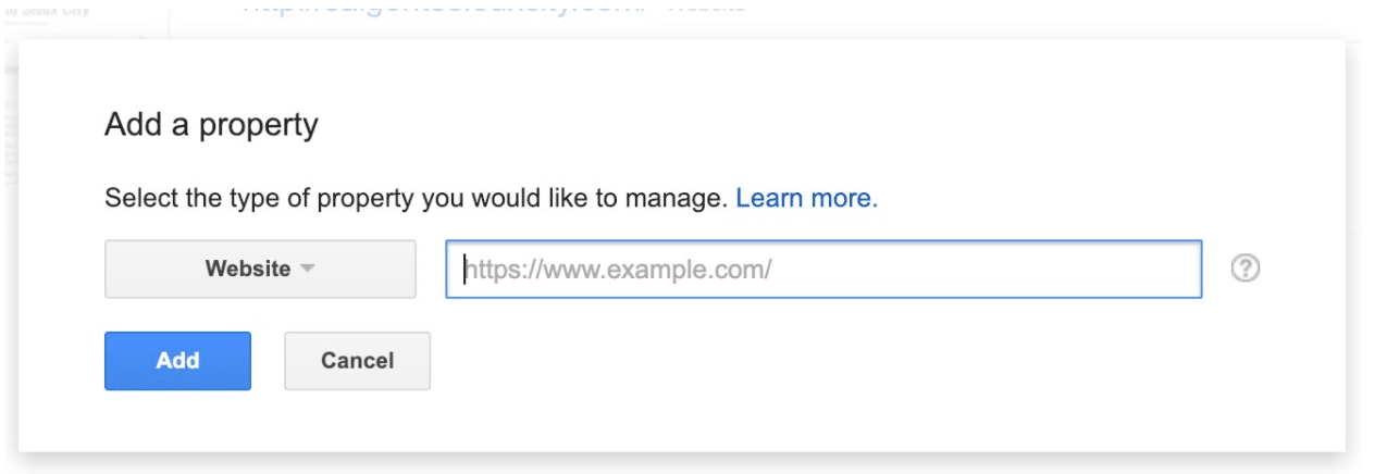 Add new website to Google Search Console