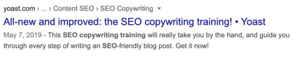 meta description of the SEO copywriting training page on yoast.com