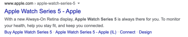Google result for Apple Watch Series 5