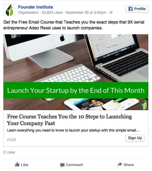 founder institute mobile ad example