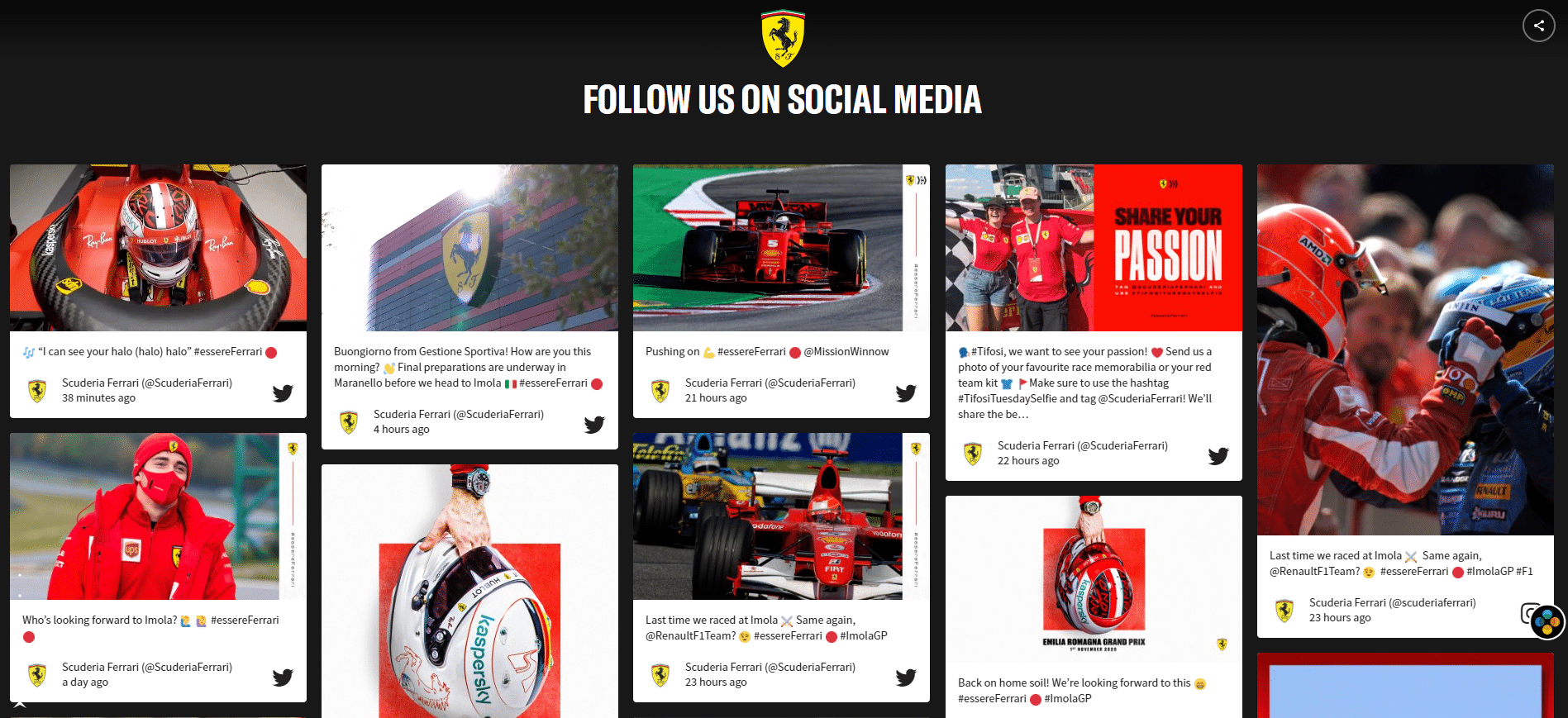 add social posts to website Ferrari