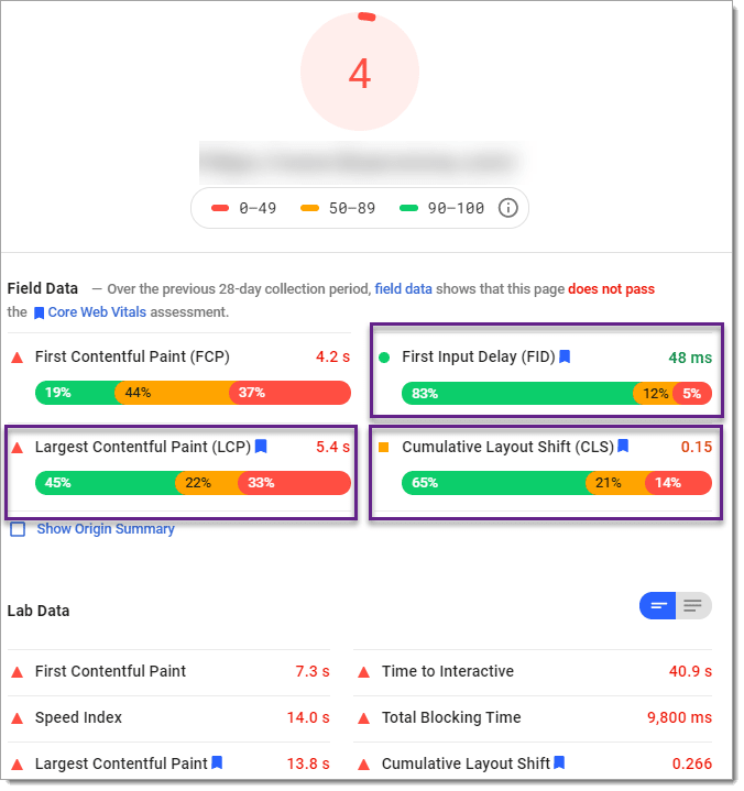 Pagespeed Insights Core Web Vitals scores