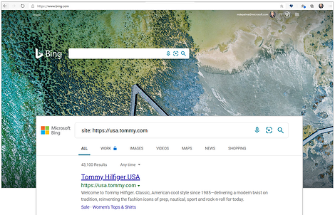 bing site search of tommy hilfiger