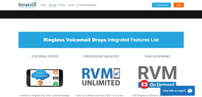 Stratics Network offers ringless voicemail in the Canada and US.