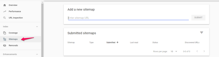advanced SEO submit sitemap