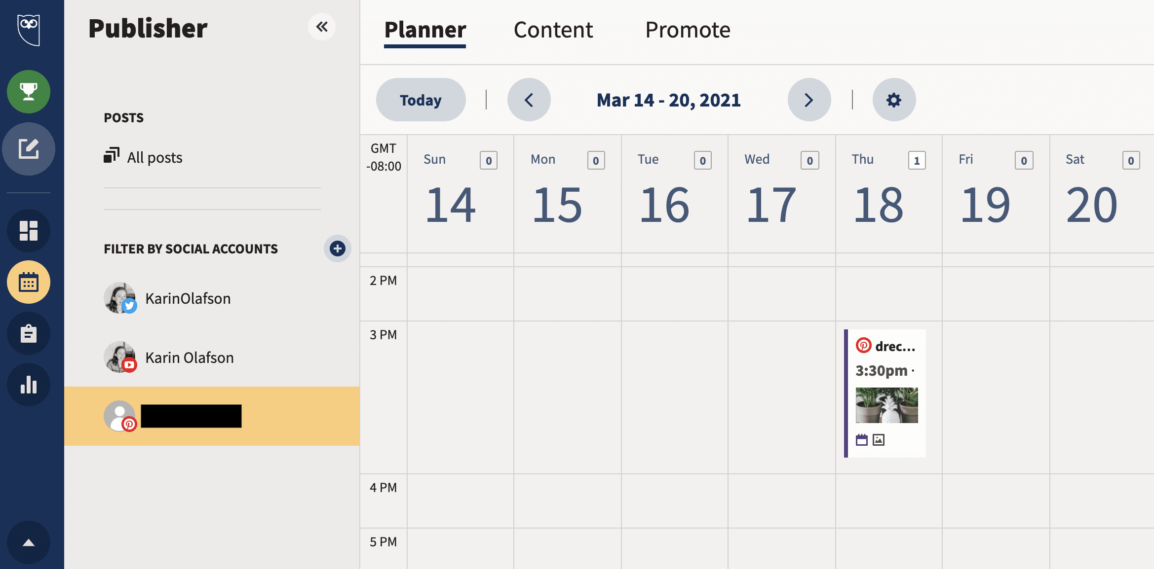 Hootsuite Planner scheduled Pins