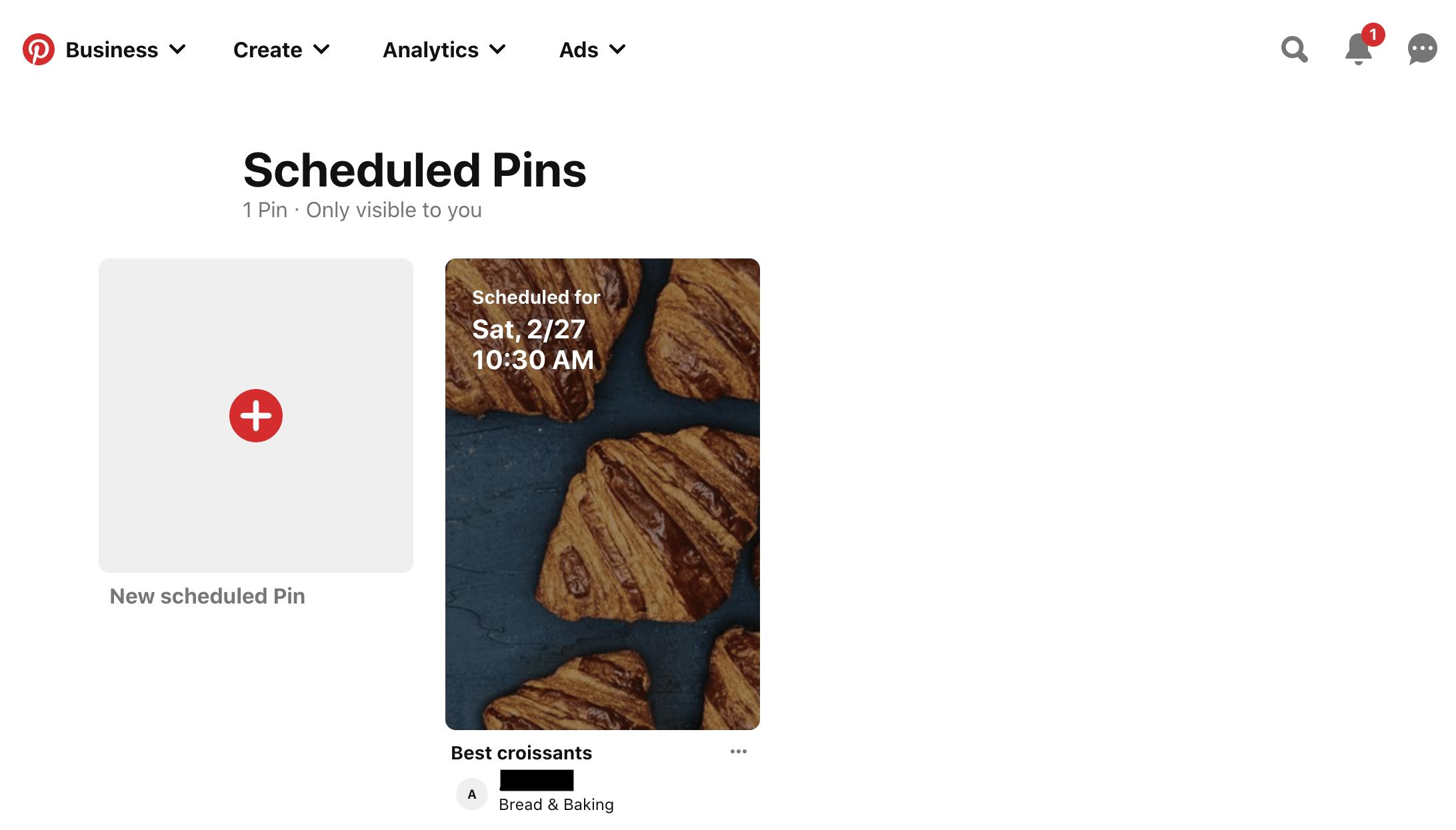 scheduled pins page