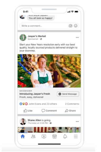 newsfeed messenger ads