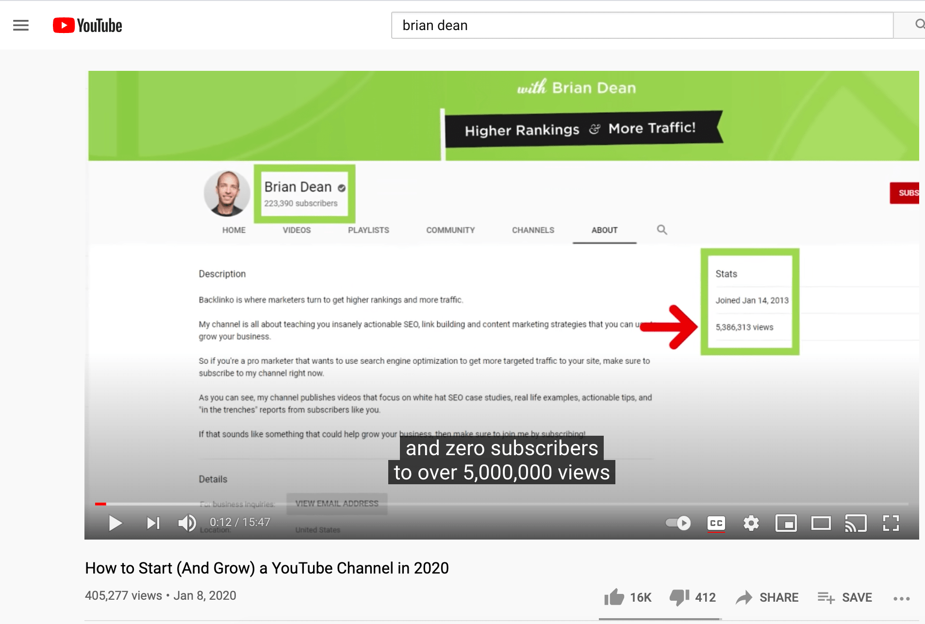 Brian Dean's video on growing a YouTube channel.