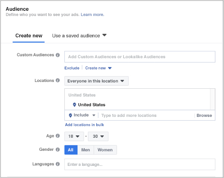 Target markets - Facebook demographic targeting