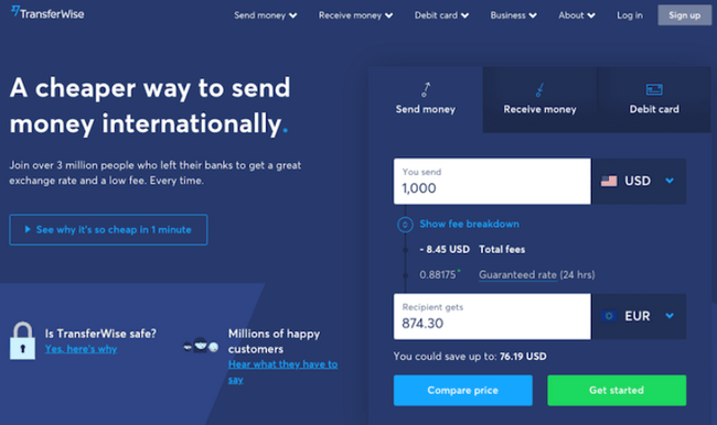 TransferWise landing page for Google advertising ideas