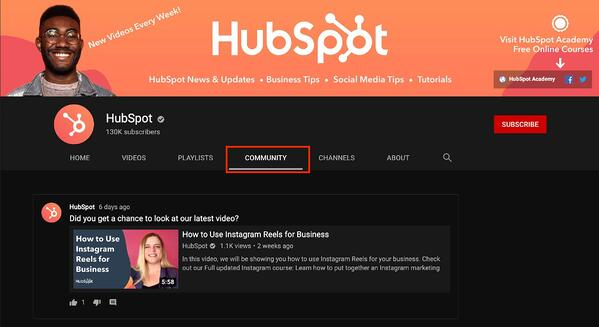 hubspot youtube channel community tab example