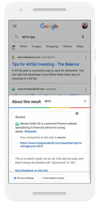 SEO news in February 2021: example of Google showing information about resource in search results