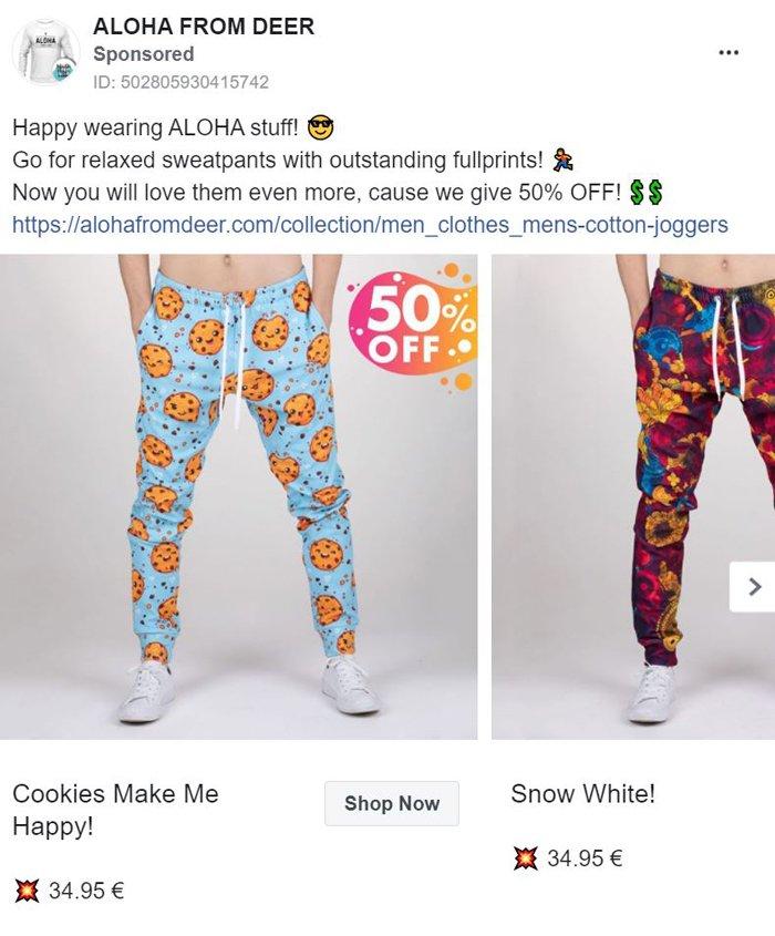 facebook carousel ad - aloha from deer