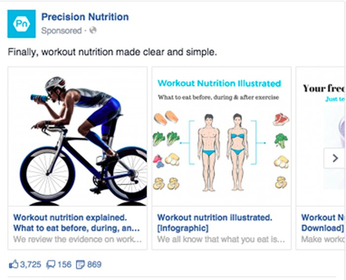 facebook carousel ad - precision nutrition
