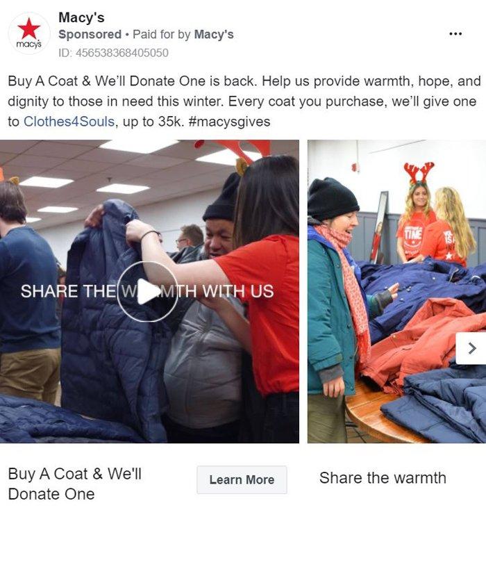 facebook carousel ad - macys