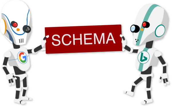 Illustration of two Google bots holding a sign that says Schema