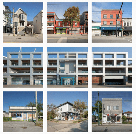 various buildings in a grid layout