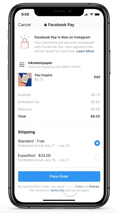 Facebook Pay checkout option