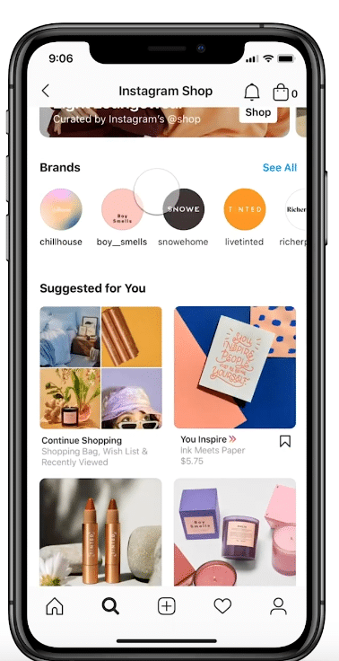 Instagram Shop discovery tab