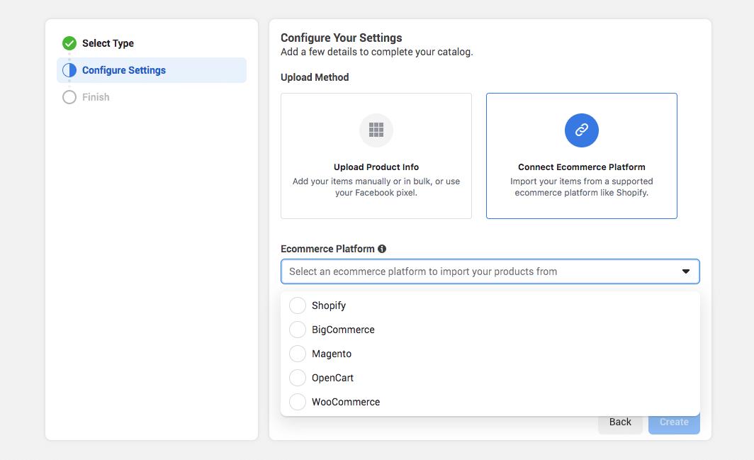 configure settings to connect ecommerce platform