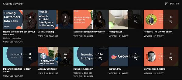 hubspot youtube account playlists page demo