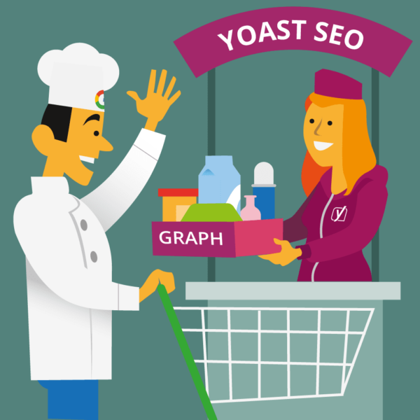 Cook gets a box of 'graph' ingredients by a Yoast employee