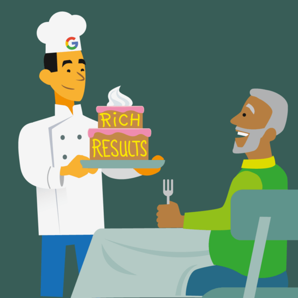 Illustration of cook giving someone a cake with the text Rich Results on it