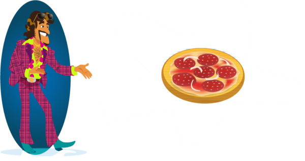 illustration of our character Rich Snippet putting the spotlight on a pizza