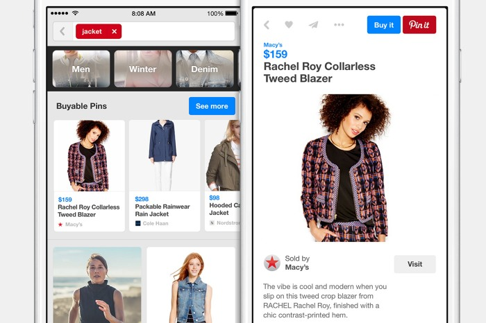 Pinterest's old shopping feature