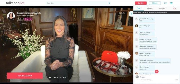 Catherine Zeta-Jones Livestream Shopping Event