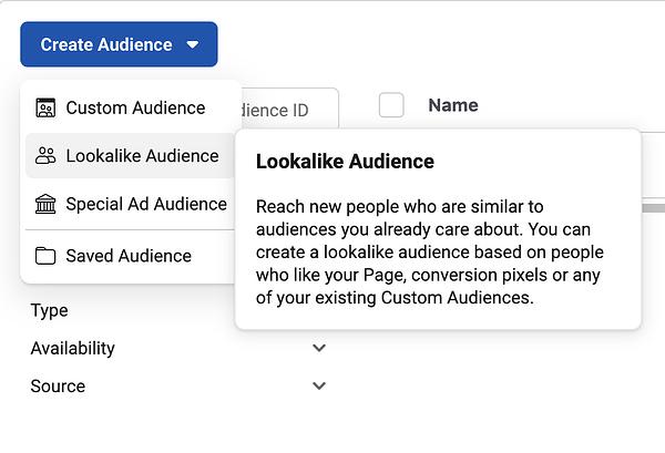 Facebook ads audiences.