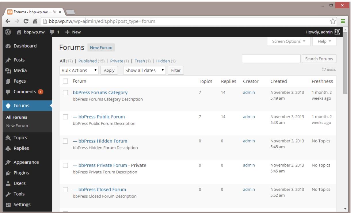 WordPress with bbPress forum plugin