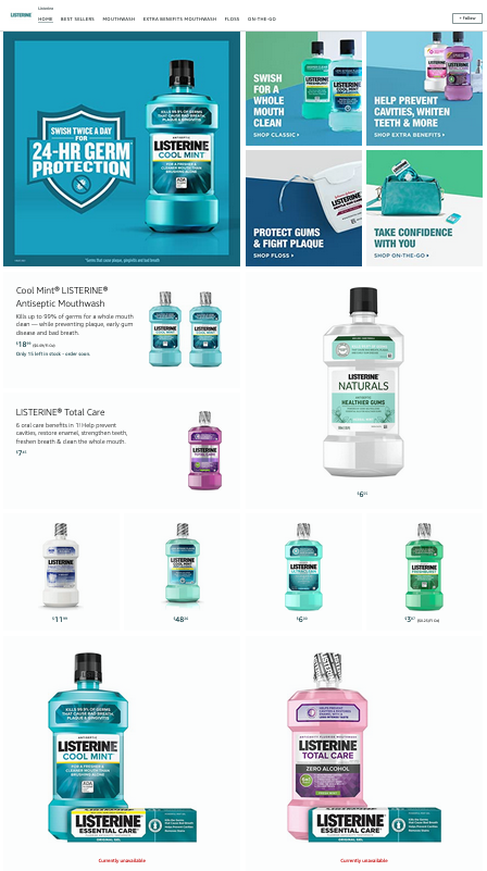 Examples of Beautiful and Effective Amazon Storefronts - Listerine