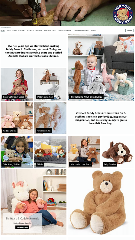 Examples of Beautiful and Effective Amazon Storefronts - Vermont Teddy Bear
