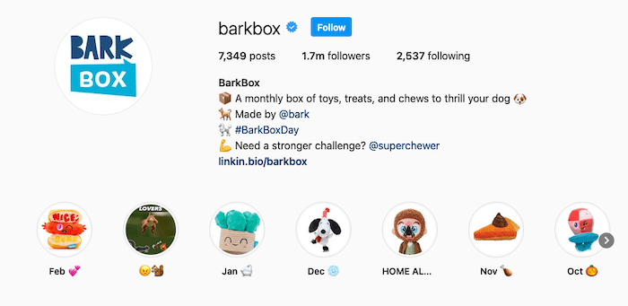 Instagram bios- barkbox example