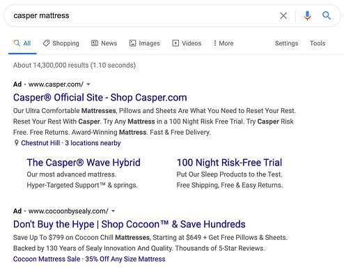 "paid ads top result in google search engine results page for ""casper mattress"" query"