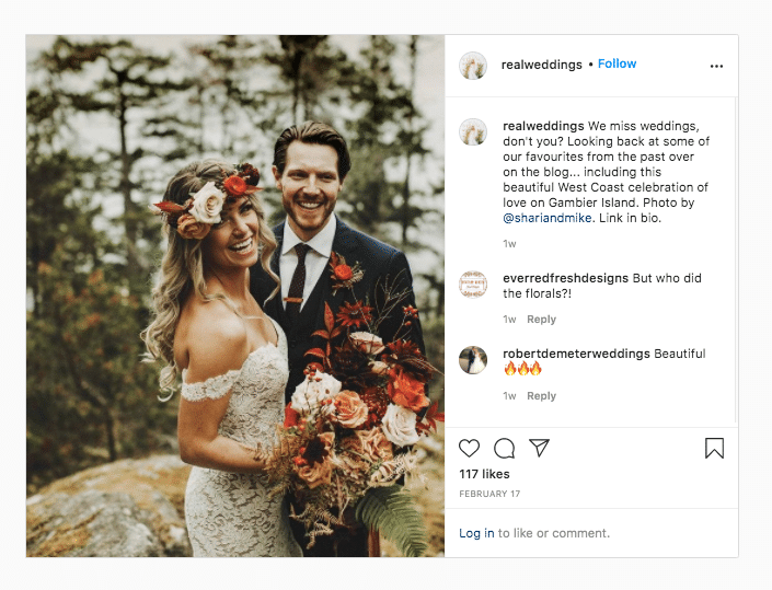 Real Weddings photo of couple with bouquet link in bio