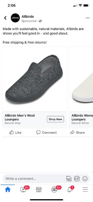 How to target millennials through paid ads - allbirds facebook ad