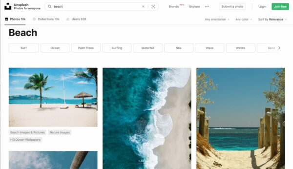 searching on Unsplash for images of beach