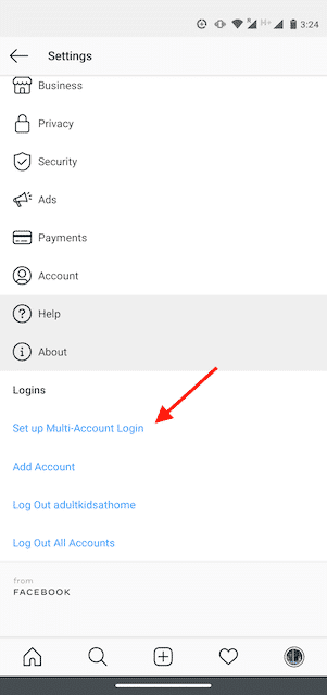 "Option to ""Set up Multi-Account Login"" on Instagram"