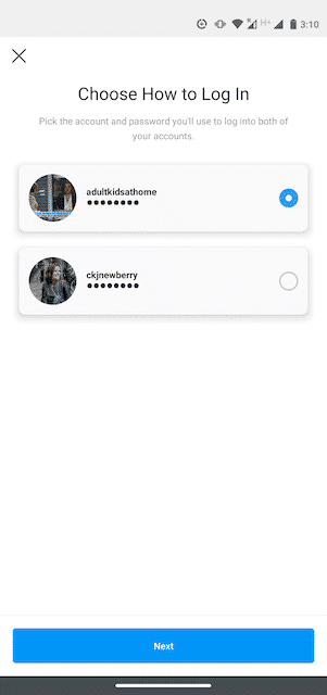 "Option to ""Choose How to Log In"" on Instagram"