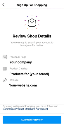 How to submit your Instagram shop account for review step 4